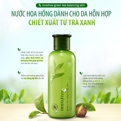 nuoc hoa hong cho da thuong  innisfree tra xanh